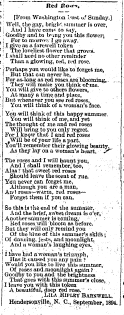 "Lila Ripley Barnwell's poem ""Red Roses,"" published in the <i>News and Observer</i> (Raleigh, NC),  October 3, 1894."