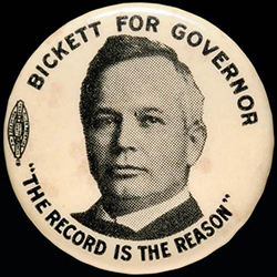 Campaign button for Thomas Walter Bickett, 1916. Image from the North Carolina Museum of History.