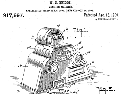 A vending machine design patented by William Cyrus Briggs in 1909. Image from Google Patents.