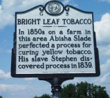 Bright Leaf Tobacco's marker is located on SR 1511 (Blanch Road) west of Blanch in Caswell County. Photo is presented on North Carolina Highway Historical Marker Program.