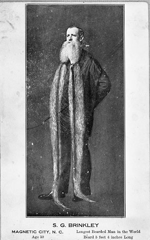 "Postcard image of S.G. Brinkley, ""Longest Bearded Man in the World."" From the collections of the State Archives of North Carolina."