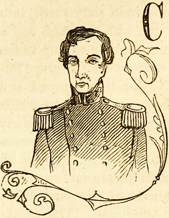 A drawing of John Henry King Burgwin published in 1862. Image from the Internet Archive.