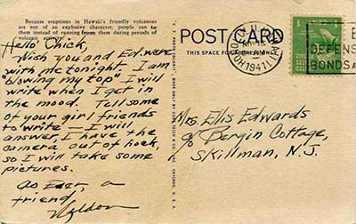 Image of postcard note from Weldon Burlison to Elsie Edwards, postmarked November 1941. Image from the Weldon C. Burlison Collection, Military Collection, State Archives of North Carolina. Used with permission.
