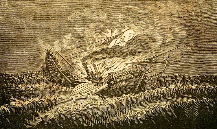 An engraving of the sinking of the Pulaski, published in 1840. Image from the Internet Archive.