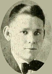 A photograph of Frank Ertel Carlyle from the 1919 University of North Carolina yearbook. Image from the Internet Archive.