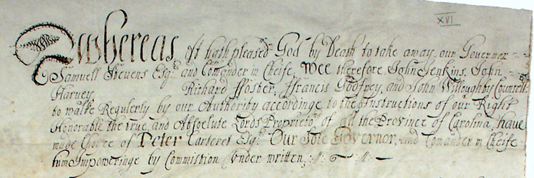 Part of  the document appointing Peter Carteret as governor, 1670. Image from the North Carolina Digital Collections.