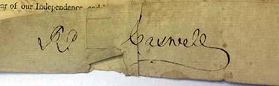 Signature of Richard Caswell, Governor of North Carolina, 1787. From a document authorizing the sale of land confiscated from a Revolutionary War loyalist,  Baronet Nathaniel Duckenfield. Collection of the State Archives of North Carolina.