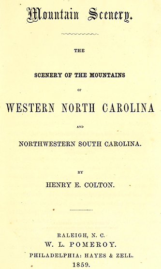Title page of Henry E. Colton's 1859 book, Mountain Scenery. Image from the Internet Archive.