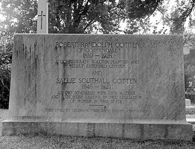 A 1962 photograph of the tombstone of Robert Randolph Cotten in Pitt County. Image from the East Carolina University Digital Collections.