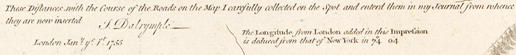 A note by John Dalrymple on the Fry-Jefferson map in an edition published in 1794. Image from North Carolina Maps.