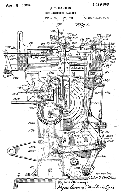 One of the drawings of John Thomas Dalton's bag-stringing machine. US Patent 1,489,663, filed September 17, 1921, and issued April 8, 1924. Image from Google Patents.