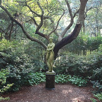 An 1859 statue of an imagined Virginia Dare, by Maria Louise Lander at the Elizabethan Gardens, Roanoke Island. Image from Flickr user one30outerspace.