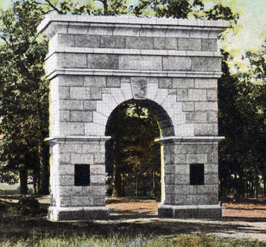 Photograph of the Davidson Arch at the Guilford Battle Ground.  Image from the North Carolina Postcard Collection, Wilson Library, the University of North Carlina at Chapel Hill.