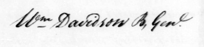 Signature of General William Davidson, from a letter to Horatio Gates, September 26, 1780.  From the George Washington Papers at the Library of Congress, 1741-1799.