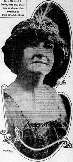 A 1913 photograph of Mrs. Bertha Marie Bouvier Davis, wife of Richard Pearson Davis. Image from the California Digital Newspaper Collection.