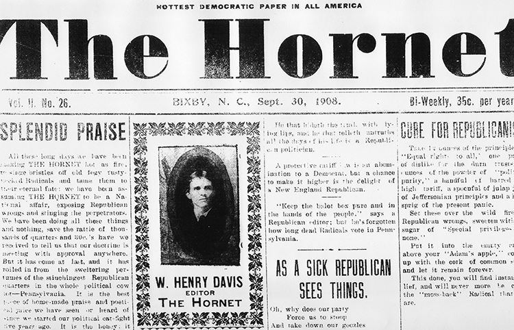 The front page of the September 30, 1908 edition of The Hornet. Image from the N.C. Government & Heritage Library.