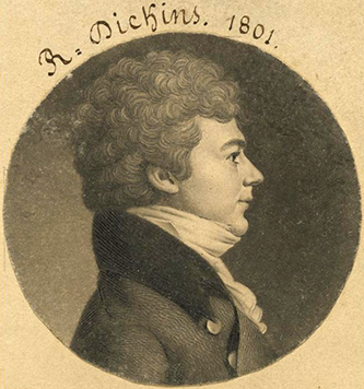 An 1801 engraving of Asbury Dickins by Charles Balthazar Julien Févret de Saint-Mémin. Image from the National Portrait Gallery, Smithsonian Institution