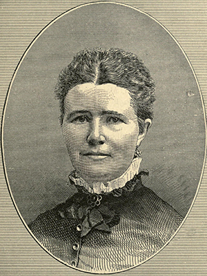 An engraving of Tamsen Eustis Donner's daughter Georgia A. Donner, published in 1880. Image from the Internet Archive.