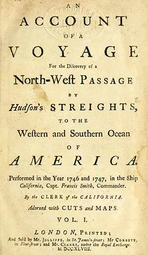 "The title page of ""An account of a voyage for the discovery of a north-west passage by Hudson's streights,"" believed to have been written by Theodorus Swaine Drage. Image from the Internet Archive."