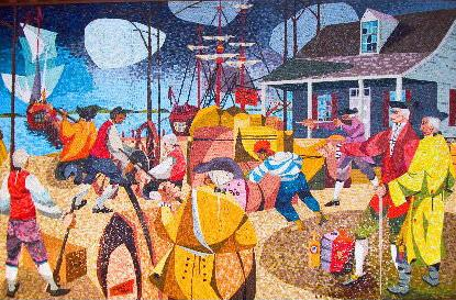 A mosaic depicting the  1748 Spanish Attack on Brunswick. Image from N.C. Historic Sites, N.C. Office of Archives & History.