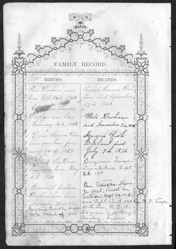 Family Record from the Plato and Catherine Leonora Tracy Durham Family Bible.  Bible published 1871.  From the State Archives of North Carolina, presented by North Carolina Digital Collections.