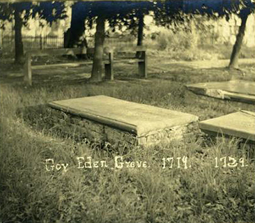 Photograph of the grave of governor Charles Eden, in St. Paul's churchyard, circa 1900-1920. Image from the North Carolina Museum of History.