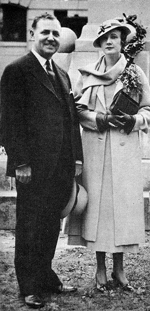Governor John Christoph Blucher Ehringhaus and his wife Matilda Bradford Haughton Ehringhaus in Elizabeth City, May 30, 1933. Image from  	University of North Carolina at Chapel Hill. Carolina Digital Library and Archives. .