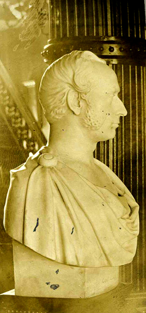 A bust of John Willis Ellis portraying him in the style of ancient Rome, by sculptor Henry Dexter, circa 1859-1864. Image from the North Carolina Museum of History.