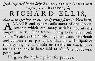 An advertisement by Richard Ellis from the January 7, 1774 edition of the North Carolina Gazette. Image from the North Carolina Digital Collections.