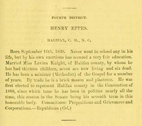 """Image of biographical entry for Henry Eppes, from the """"Tar heel sketch-book. A brief biographical sketch of the life and public acts of the members of the General assembly of North Carolina. Session of 1879""""."""