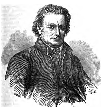 An engraving of James Bradley Finley published in 1854. Image from the Internet Archive.