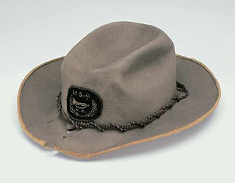 Col. Charles F. Fisher's hat, worn at the Battle of Manassas. Image from the North Carolina Museum of History.