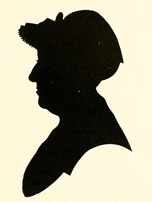 """Roxana (Ward) Foote, grandmother of Henry Ward Beecher."" Silhouette. Andrew Warde and his descendants, 1597-1910 : being a compilation of facts relating to one of the oldest New England families and embracing many families of other names, descended from a worthy ancestor even unto the tenth and eleventh generations. New York: A.T. De La Mare Printing and Publishing Company. 1910. Facing 132."