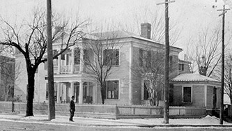 Daniel Gould Fowle's house in Raleigh, at the corner of Davie and Fayetteville Streets. Image from the State Archives of North Carolina.