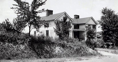 A photograph of Governor Jesse Franklin's house in Surry County, taken circa 1945-1949. Image from the North Carolina Museum of History.