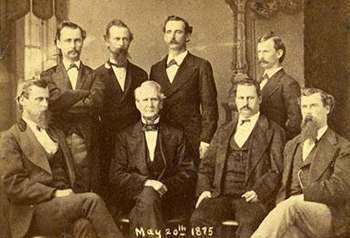 A photograph of William Alexander Graham and his seven sons, May 20, 1875. Image from the North Carolina Museum of History.