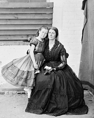 A photograph of Rose O'Neal Greenhow with her daughter in the Old Capitol prison in Washington, D.C. Image from the Library of Congress.
