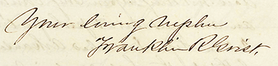 The signature of Franklin Richard Grist, from an 1853 letter to an aunt. Image from the Southern Historical Collection, University of North Carolina at Chapel Hill.