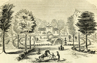 A 1857 engraving of Grist's mansion. Image from Archive.org.