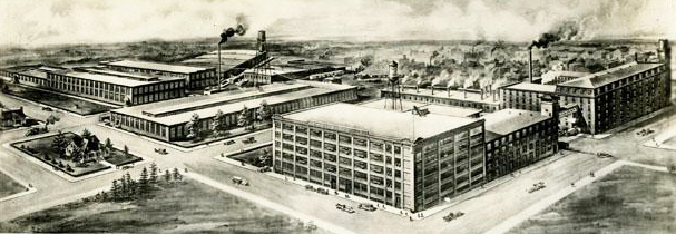 Illustration of the P.H. Hanes Knitting Company in Winston-Salem, circa 1920-1930. Image from the North Carolina Museum of History.