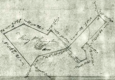 A 1779 survey map showing Henry William Harrington's 640 acres in Anson County. Image from the North Carolina Digital Collections.