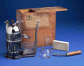A steam atomizer, circa 1870-1880, used by Dr. Haywood in his practice. Image from the North Carolina Museum of History.