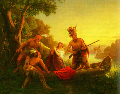 The painting The Abduction of Daniel Boone's Daughter by the Indians, 1853, by Karl Ferdinand Wimar (1828–1862). Image from Wikimedia Commons.