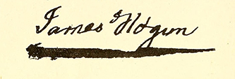 The signature of James Hogun. Image from the Internet Archive.