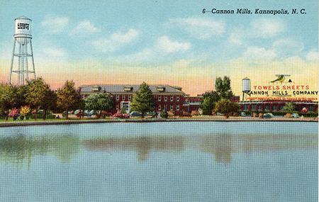 Post card showing one of the buildings comprising the Cannon Mills Plants. Image from University of North Carolina at Chapel Hill's North Carolina Postcards collection.
