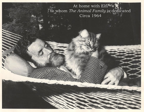 Randall Jarrell and his cat Elfi. Photo is courtsey from flickr.