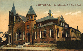 A 1910 postcard of the Jarvis Memorial Methodist Church. Image from the Eastern North Carolina Postcard Collection, East Carolina University.
