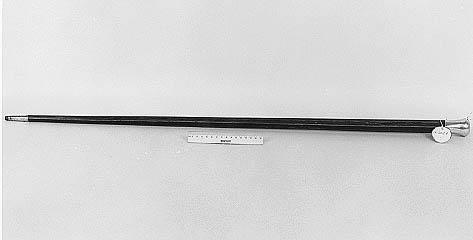 "Photograph of a walking stick given to President Andrew Johnson by James Lyons, August 1866.  An engraving on the stick reads: ""Presented to Andrew Johnson President of the United States The Restorer of the Constitution.""  Item held in the collections of the N.C. Museum of History."