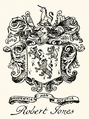 "The coat of arms or bookplate of Robert ""Robin"" Jones, Jr. Image from Archive.org."