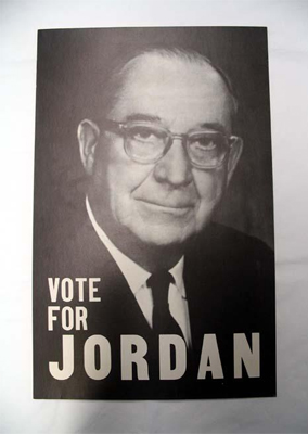 """Vote for Jordan"". Image of campaign poster for B. Everett Jordan, circa 1957-58.  From the collections of the North Carolina Museum of History."
